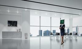 Bedrijfsvrouw met monitor in plaats van hoofd Royalty-vrije Stock Afbeelding
