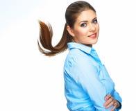 Bedrijfsvrouw met motie lang haar Jong model Studio portr Stock Fotografie