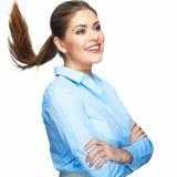Bedrijfsvrouw met motie lang haar Jong model Studio portr Stock Afbeeldingen