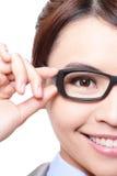 Bedrijfsvrouw met oogglazen Stock Foto