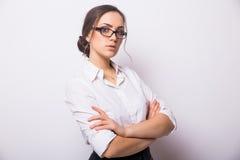 Bedrijfsvrouw met oogglazen stock fotografie