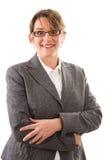 Bedrijfsvrouw met open ogen - vrouw die op witte achtergrond wordt geïsoleerd Royalty-vrije Stock Afbeelding