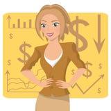 Bedrijfsvrouw in okerkostuum, glimlachend karakter op grafiekachtergrond, vector Stock Foto's