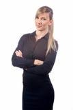 Bedrijfsvrouw op een witte achtergrond royalty-vrije stock afbeelding
