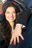 Bedrijfsvrouw in sportwagen Royalty-vrije Stock Foto's