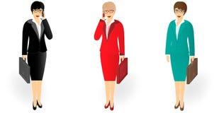 Bedrijfsvrouw in van gemiddelde lengte met een aktentas die op celtelefoon spreken stock illustratie