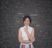 Bedrijfsvrouwen met de wiskundeformule van het brainstormings creatieve idee Stock Foto's