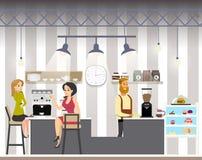 Bedrijfsvrouwendrank Coffe in Koffie vector illustratie