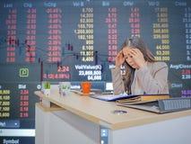 Bedrijfsvrouwenhoofdpijn omdat effectenbeurs die dalen stock foto's