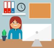 Bedrijfsvrouwenkarakter achter bureau Stock Illustratie