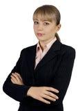 Bedrijfsvrouwenportret dat op wit wordt geïsoleerd Stock Afbeelding