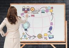 Bedrijfsvrouwentekening grafisch op het bord stock illustratie