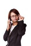 Bedrijfsvrouwentelefoon het spreken Stock Foto's