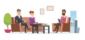 Bedrijfswachtkamer De mensen op kantoor lobbyen moderne binnenlandse de ontvangst vectorkarakters van de zittingstheepauze stock illustratie