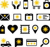 Bedrijfswebpictogrammen met zon Royalty-vrije Stock Afbeeldingen