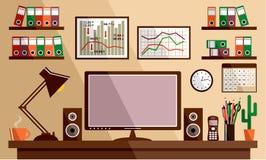 Bedrijfswerkplaats met bureaudingen vector illustratie