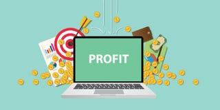 Bedrijfswinstillustratie met tekst op laptop vertoning met het gouden muntstuk die van het bedrijfspictogramgeld van hemel en gra vector illustratie