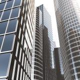 Bedrijfswolkenkrabbers, high-rise gebouwen, architectuurmening aan de hemel, zon Economisch financieel concept, 3d stock illustratie