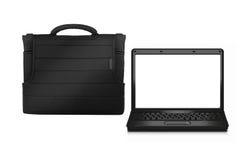 Bedrijfszak met laptop royalty-vrije stock foto
