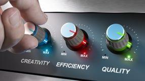 Bedrijfwaarden, Creativiteit, Efficiency en Kwaliteit stock illustratie