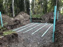 Septic leach field installation Royalty Free Stock Image