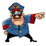 Bedrohliche Polizei der Zeichentrickfilm-Figur zeigt Hand an Stockfoto