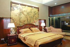Bedroom. Interior of bedroom in chinese style Stock Photo