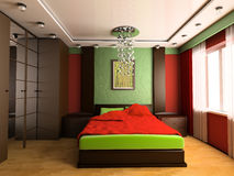 Bedroom. In modern style 3d image Stock Photos