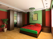 Bedroom. In modern style 3d image Royalty Free Stock Photos