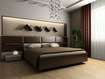 Bedroom. In modern style 3d image Royalty Free Stock Image