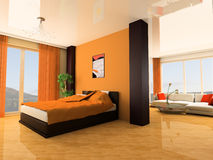 Bedroom. In modern style 3d image Royalty Free Stock Photo