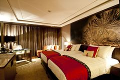 Bedroom. Interior of modern comfortable hotel room Royalty Free Stock Photography