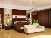 Bedroom. Luxury bedroom in brown color with white couch Royalty Free Stock Photos