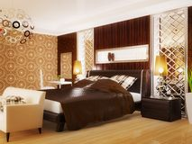 Bedroom. Luxury bedroom in brown color with white couch Royalty Free Stock Photography