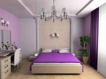 Bedroom. In classical style 3d image Royalty Free Stock Photos