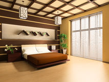 Bedroom. In modern style 3d image Royalty Free Stock Photography