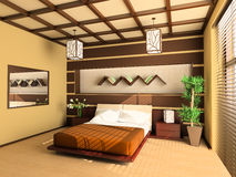 Bedroom. In modern style 3d image Royalty Free Stock Images