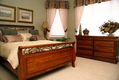 Bedroom. Clean master bedroom or hotel room stock photo