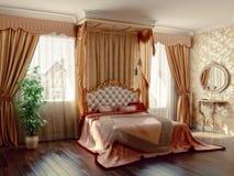 Bedroom. Classic style modern bedroom interior (3D rendering Stock Images