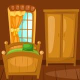 Bedroom. Illustration of cartoon landscape bedroom Royalty Free Stock Image