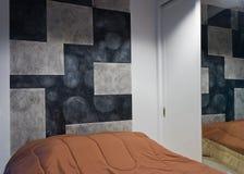 Bedroom. Modern warm bedroom to sleep Royalty Free Stock Image