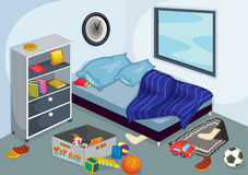 Bedroom. Illustration of a messy bedroom Royalty Free Stock Image