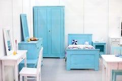 Bedroom. Stylish Mediterranean bedroom in minimalistic design Stock Image