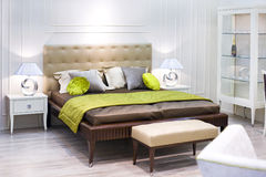 Bedroom. Stylish bedroom in retro minimalistic design Royalty Free Stock Image
