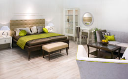 Bedroom. Stylish bedroom in retro minimalistic design Stock Photo