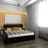 Bedroom. In rural style 3d rendering Vector Illustration