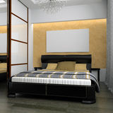 Bedroom. In rural style 3d rendering Stock Illustration