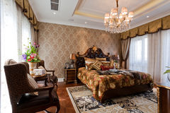 Bedroom. In home with stylish decor Stock Image