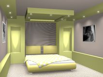 Bedroom. Modern interior. 3D render. Bedroom. Exclusive design royalty free illustration