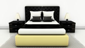 Bedroom in 3d. Bed with side tables and floor carpet on bright white in 3d Royalty Free Stock Photo